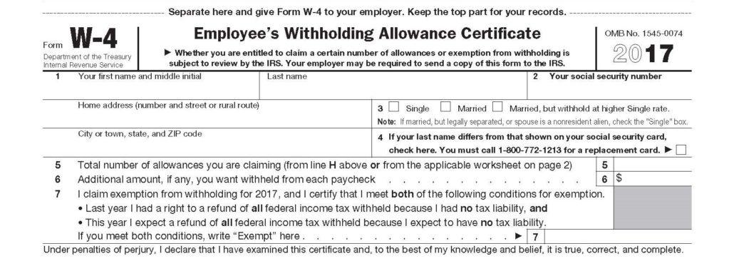 W-4 IRS Form